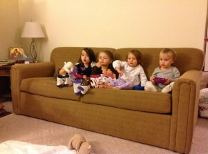 First cousin sleepover: watching Pooh's adventures